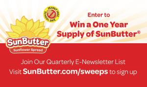 SunButter E-Newsletter Sign up Sweepstakes card