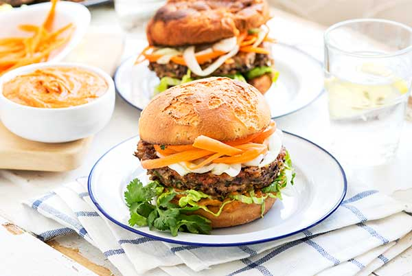 Gluten Free Thai Black Bean SunButter Burgers